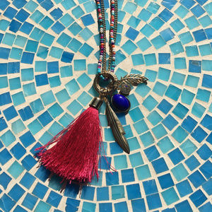 Colorful Beaded Tassel Necklace